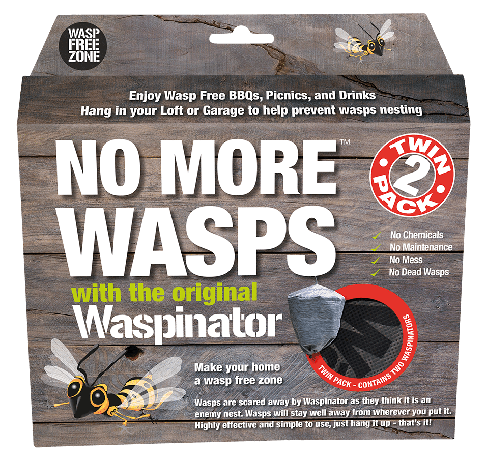 Waspinator Packaging - twinpack the best Wasp repellent. Want to know how to repel wasps:?